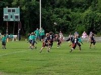 Children playing flag football on field